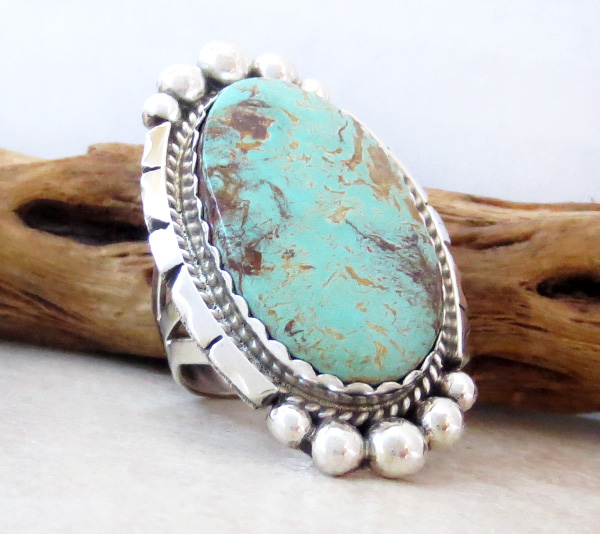 Image 2 of Native American Large Turquoise & Sterling Silver Ring Size 8 - 4361dt