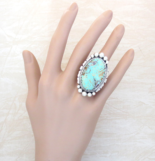 Image 4 of Native American Large Turquoise & Sterling Silver Ring Size 8 - 4361dt