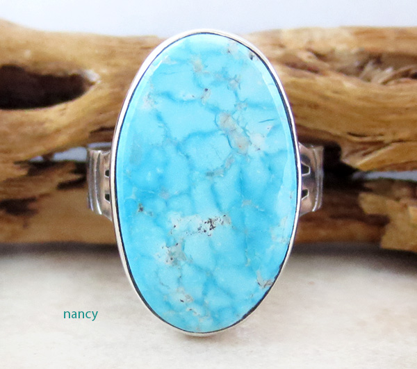 Native American Kingman Turquoise & Sterling Silver Ring Size 7 - 4239sn