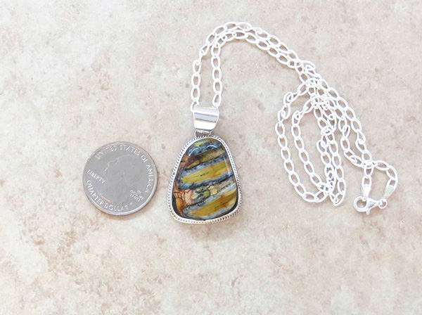 Image 1 of Native American Mammoth Tooth Stone & Sterling Silver Pendant - 3986sn