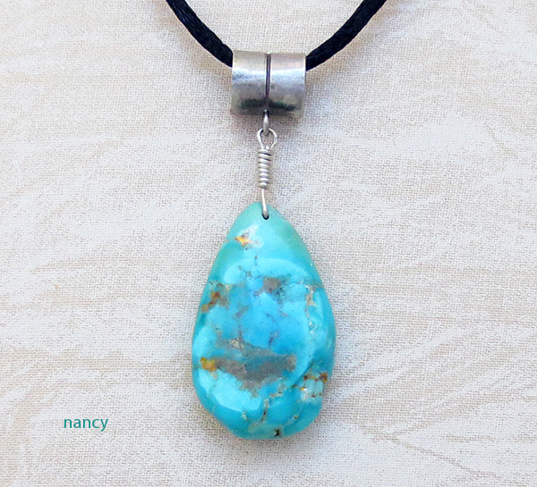 Image 0 of  Free Form Turquoise Stone Pendant Native American - 4231rb