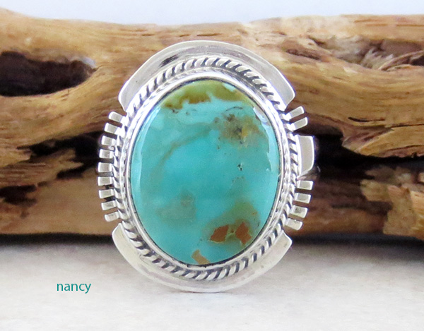 Turquoise & Sterling Silver Ring Size 7.5 Native American - 4225sn