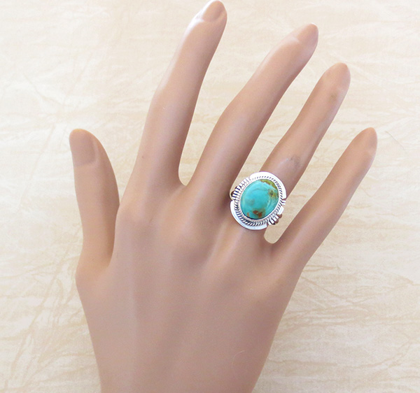 Image 3 of       Turquoise & Sterling Silver Ring Size 7.5 Native American - 4225sn