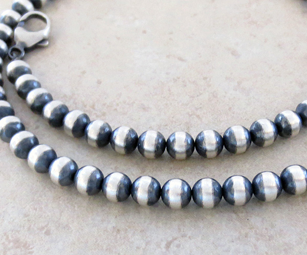 Sterling Silver Desert Pearl Necklace 19 Long Native American Jewelry - 2756dt