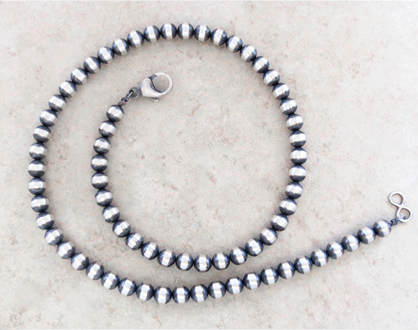 Sterling Silver Desert Pearl Necklace 19  Native American Jewelry - 2756dt