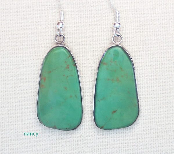 Image 0 of    Green Turquoise & Sterling Silver Earrings Native American Made - 4367rio