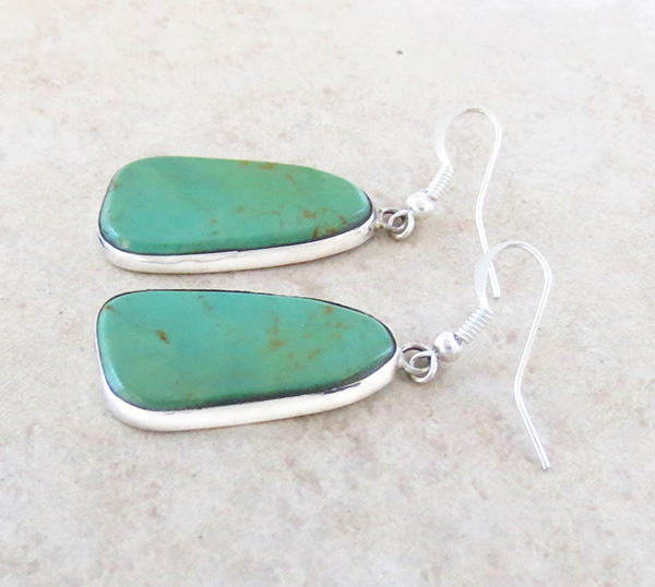 Image 1 of    Green Turquoise & Sterling Silver Earrings Native American Made - 4367rio