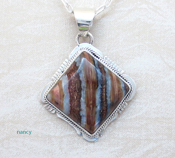 Image 0 of Navajo Made Mammoth Tooth Stone & Sterling Silver Pendant Lucy Jake - 3689sn