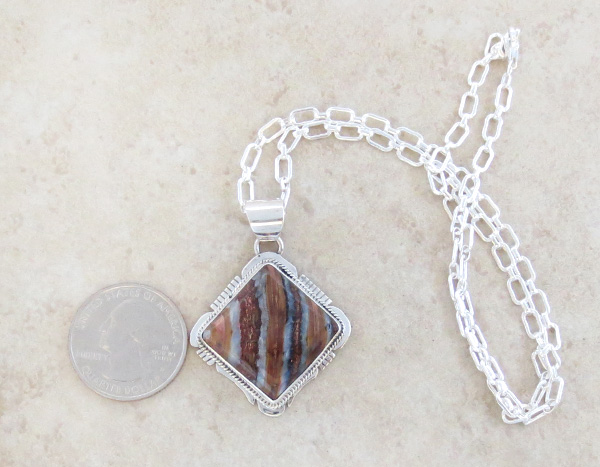 Image 1 of Navajo Made Mammoth Tooth Stone & Sterling Silver Pendant Lucy Jake - 3689sn