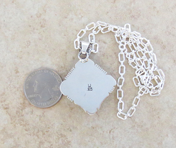 Image 4 of Navajo Made Mammoth Tooth Stone & Sterling Silver Pendant Lucy Jake - 3689sn