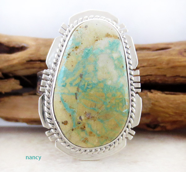 Native American Navajo Turquoise & Sterling Silver Ring Size 9 - 3690sn