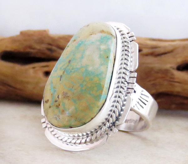 Image 2 of    Native American Navajo Turquoise & Sterling Silver Ring Size 9 - 3690sn