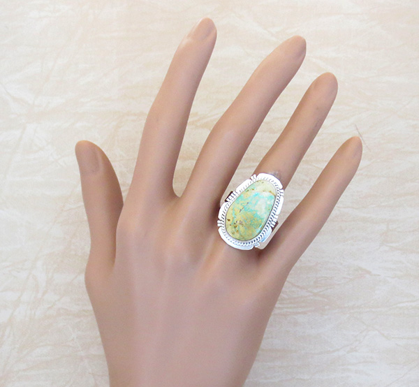 Image 4 of    Native American Navajo Turquoise & Sterling Silver Ring Size 9 - 3690sn