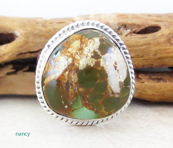 Native American Boulder Turquoise & Sterling Silver Ring Size 8.5 - 3898sn