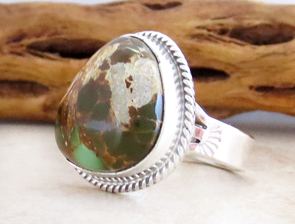 Image 2 of     Native American Jewelry Turquoise & Sterling Silver Ring Size 8.5 - 3898sn