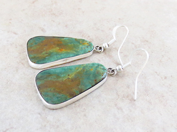Image 1 of        Native American Made Green Turquoise & Sterling Silver Earrings - 3691rio
