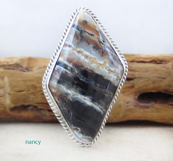 Navajo Made Ancient Mammoth Tooth Stone & Sterling Silver Ring Size 8 - 4368sn