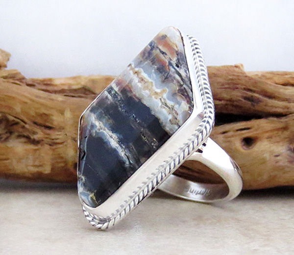 Image 2 of Navajo Made Ancient Mammoth Tooth Stone & Sterling Silver Ring Size 8 - 4368sn