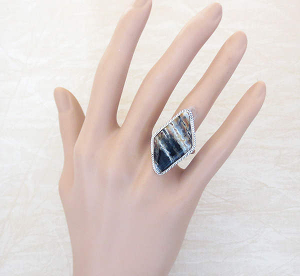 Image 4 of Navajo Made Ancient Mammoth Tooth Stone & Sterling Silver Ring Size 8 - 4368sn