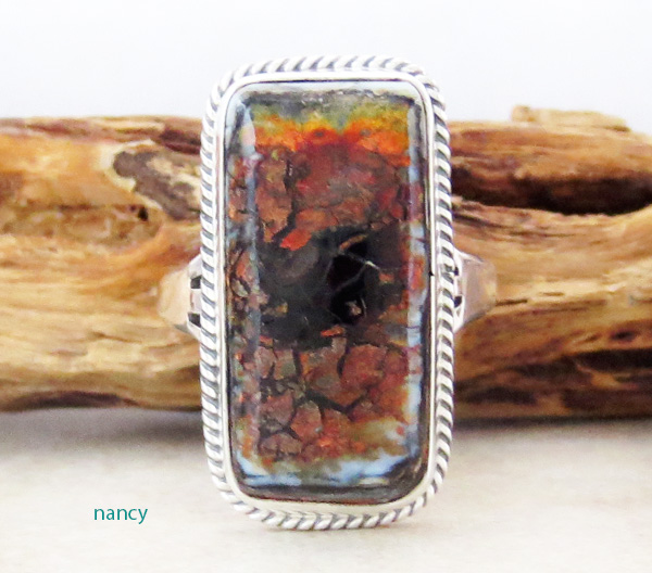 Mammoth Tooth Stone & Sterling Silver Ring Size 7 Native American - 3590sn