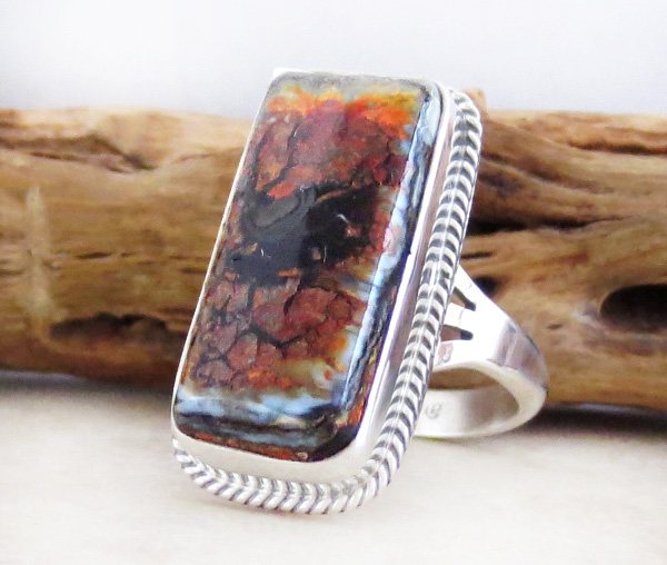 Image 2 of    Mammoth Tooth Stone & Sterling Silver Ring Size 7 Native American - 3590sn