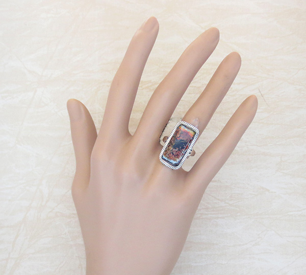 Image 4 of    Mammoth Tooth Stone & Sterling Silver Ring Size 7 Native American - 3590sn