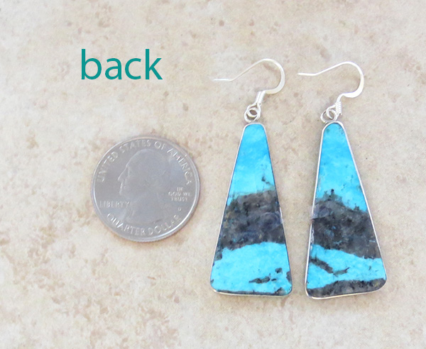 Image 2 of Turquoise Slab & Sterling Silver Earrings Native American - 4369rio