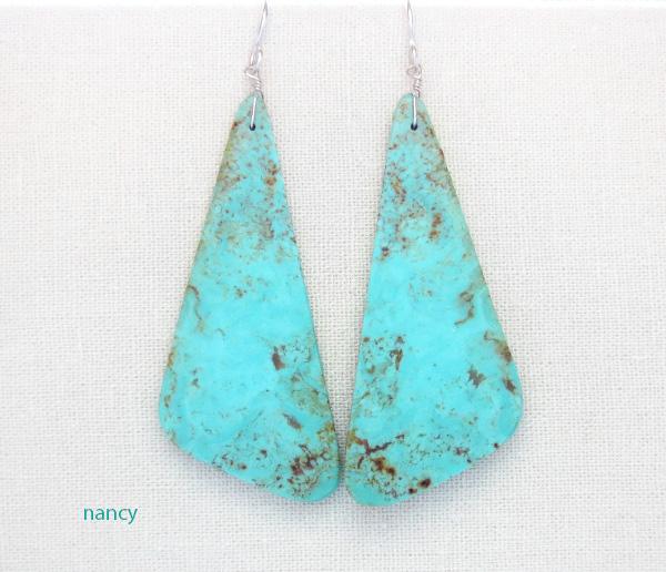 BIG Turquoise Slab Earrings Santo Domingo - 3592rio