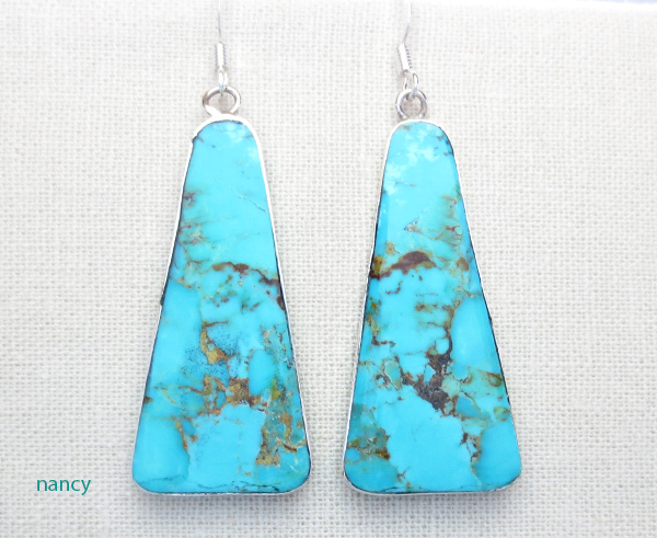 Turquoise Slab & Sterling Silver Earrings Native American - 3591rio