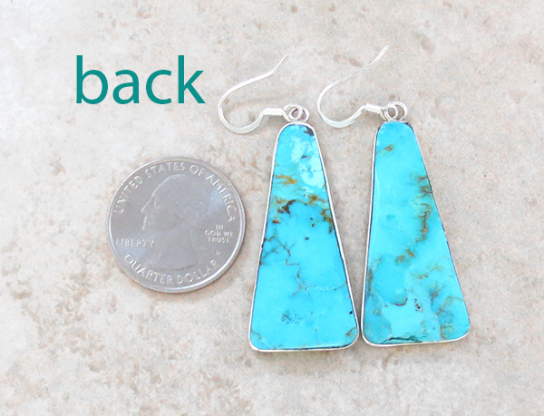 Image 2 of    Turquoise Slab & Sterling Silver Earrings Native American - 3591rio