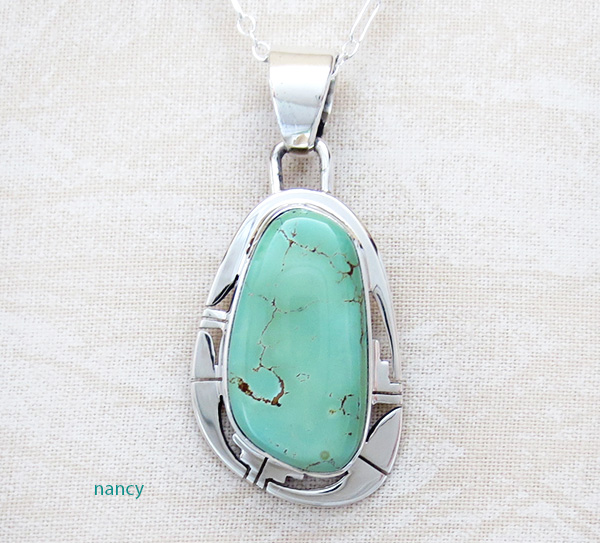 Green Turquoise & Sterling Silver Pendant Native American Made - 4137sn