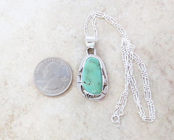 Image 1 of     Green Turquoise & Sterling Silver Pendant Native American Made - 4137sn