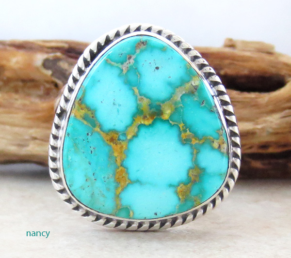 Image 0 of Turquoise & Sterling Silver Ring Size 10 Native American Made - 3594sn
