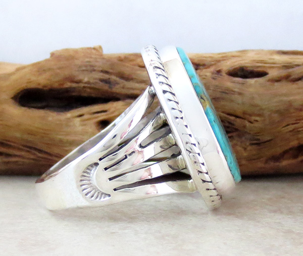 Image 1 of Turquoise & Sterling Silver Ring Size 10 Native American Made - 3594sn