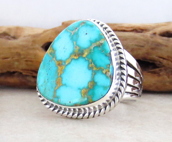 Image 2 of Turquoise & Sterling Silver Ring Size 10 Native American Made - 3594sn