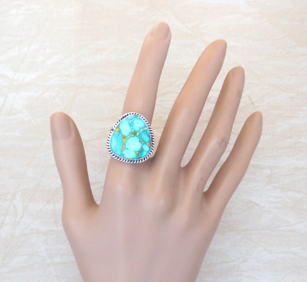 Image 4 of Turquoise & Sterling Silver Ring Size 10 Native American Made - 3594sn