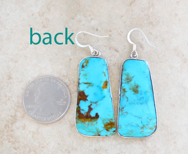 Image 2 of      Turquoise Slab & Sterling Silver Earrings Native American - 4370rio