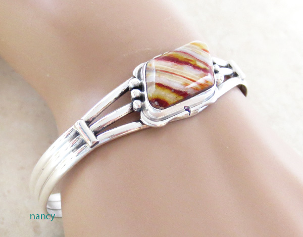 Image 0 of Navajo Made Ancient Mammoth Tooth Stone & Sterling Silver Bracelet - 3365sn