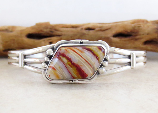 Image 1 of Navajo Made Ancient Mammoth Tooth Stone & Sterling Silver Bracelet - 3365sn