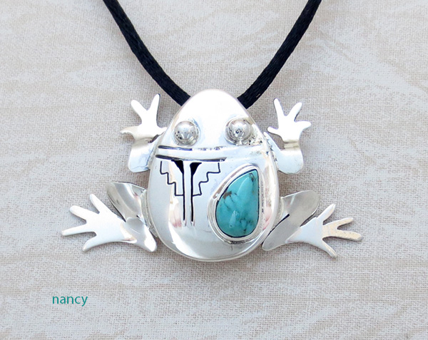 Image 0 of        Turquoise & Sterling Silver Frog Pendant Bennie Ration Navajo - 4139br