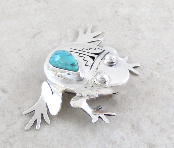 Image 3 of        Turquoise & Sterling Silver Frog Pendant Bennie Ration Navajo - 4139br