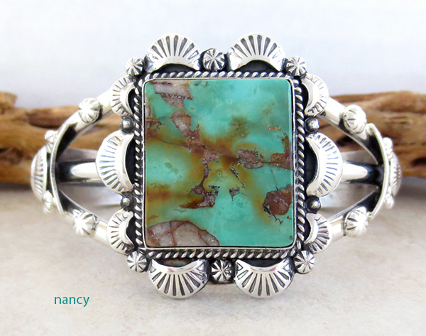 Turquoise & Sterling Silver Bracelet Cuff Navajo Made - 3367dt