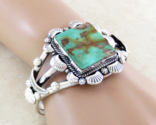 Image 1 of  Turquoise & Sterling Silver Bracelet Cuff Navajo Made - 3367dt