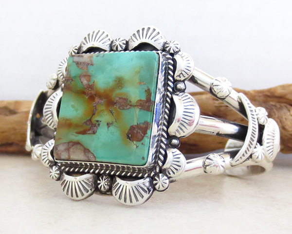 Image 3 of  Turquoise & Sterling Silver Bracelet Cuff Navajo Made - 3367dt