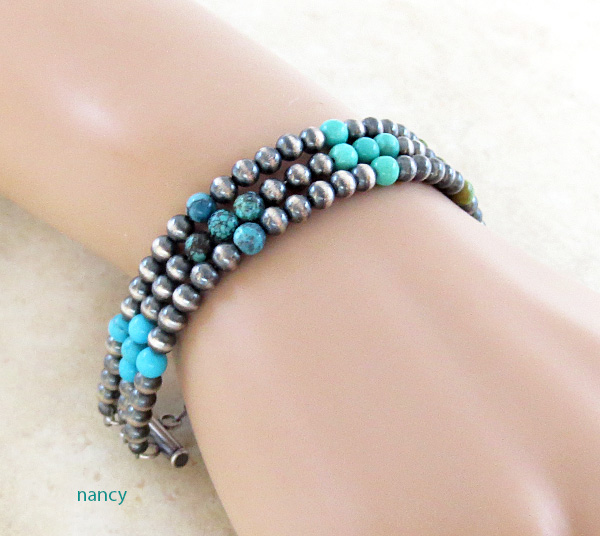 Turquoise & Sterling Silver Desert Pearls Toggle Bracelet Navajo - 3261tag