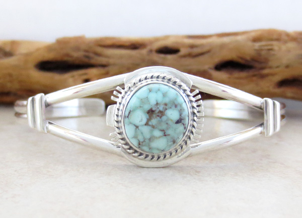 Image 0 of Native American Made Dry Creek Turquoise & Sterling Silver Bracelet -4245sn