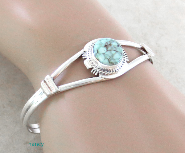 Image 1 of Native American Made Dry Creek Turquoise & Sterling Silver Bracelet -4245sn