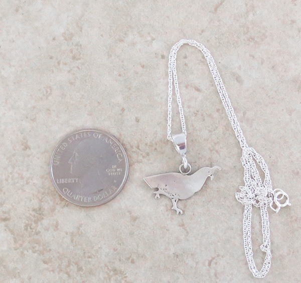Image 2 of     Sterling Silver Quail Pendant Navajo Made - 4371sn