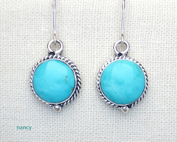 Small Turquoise & Sterling Silver Earrings Native American - 3263sn