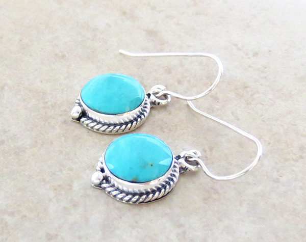 Image 1 of  Small Turquoise & Sterling Silver Earrings Native American - 3263sn